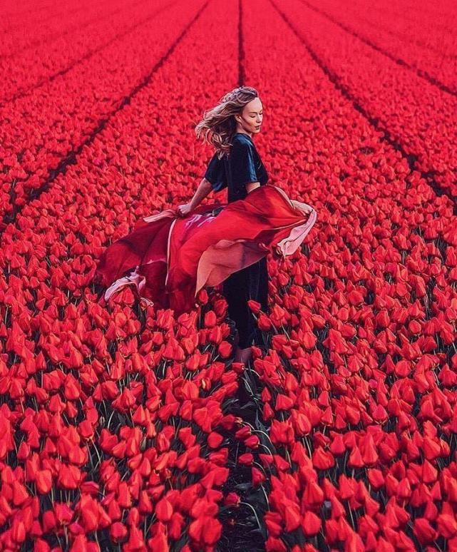 عکس پروفایل دختری میان گل ها