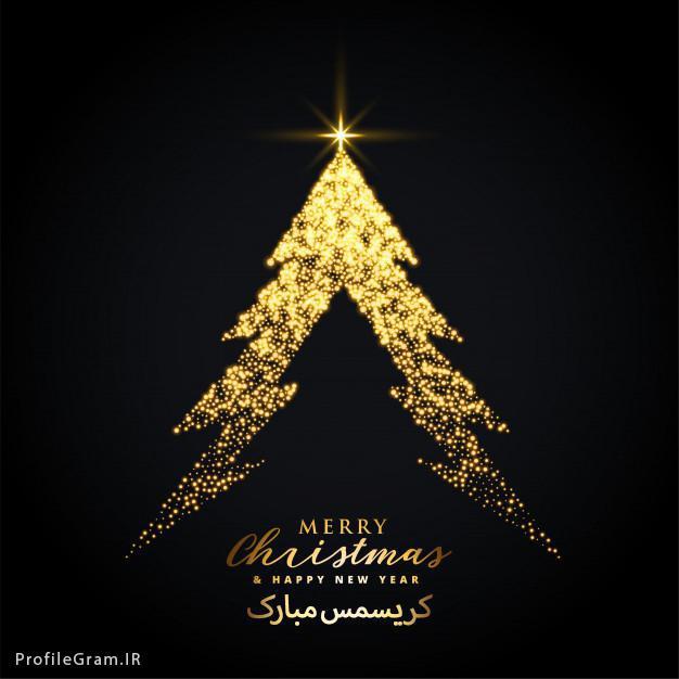 عکس پروفایل درخت کریسمس طلایی