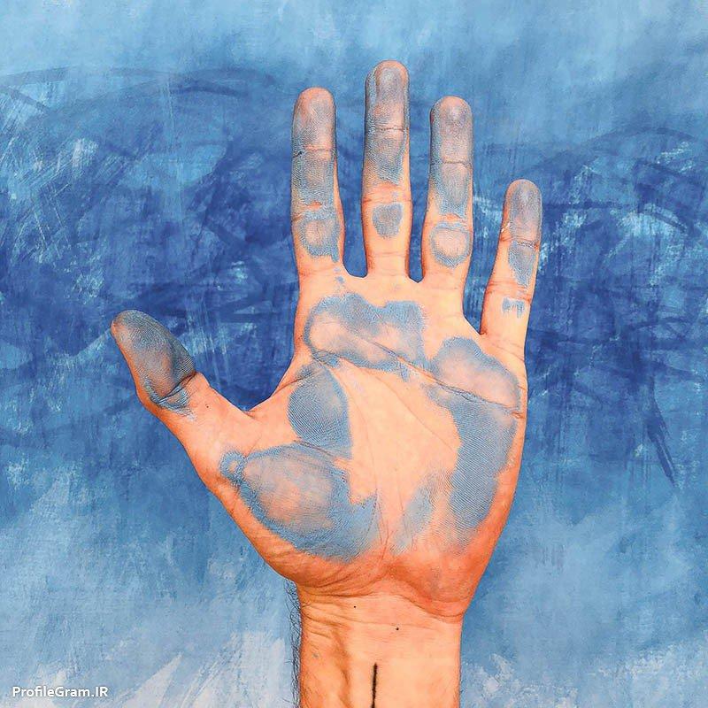 عکس پروفایل دست رنگ شده آبی