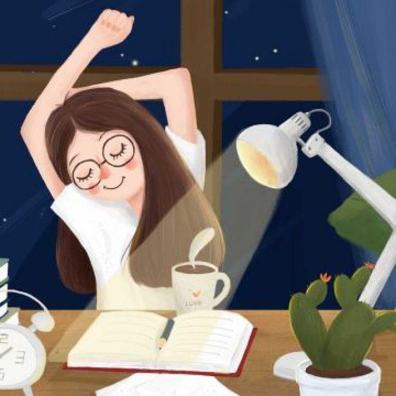 عکس پروفایل دختر کارتونی در حال مطالعه