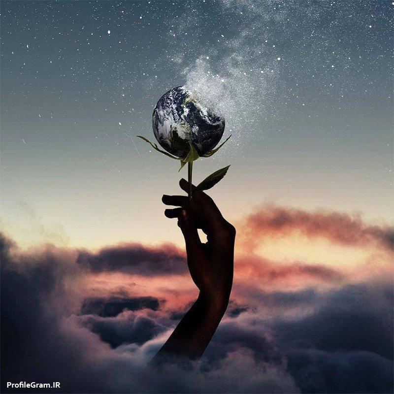 عکس پروفایل هنری رویایی گل زمین