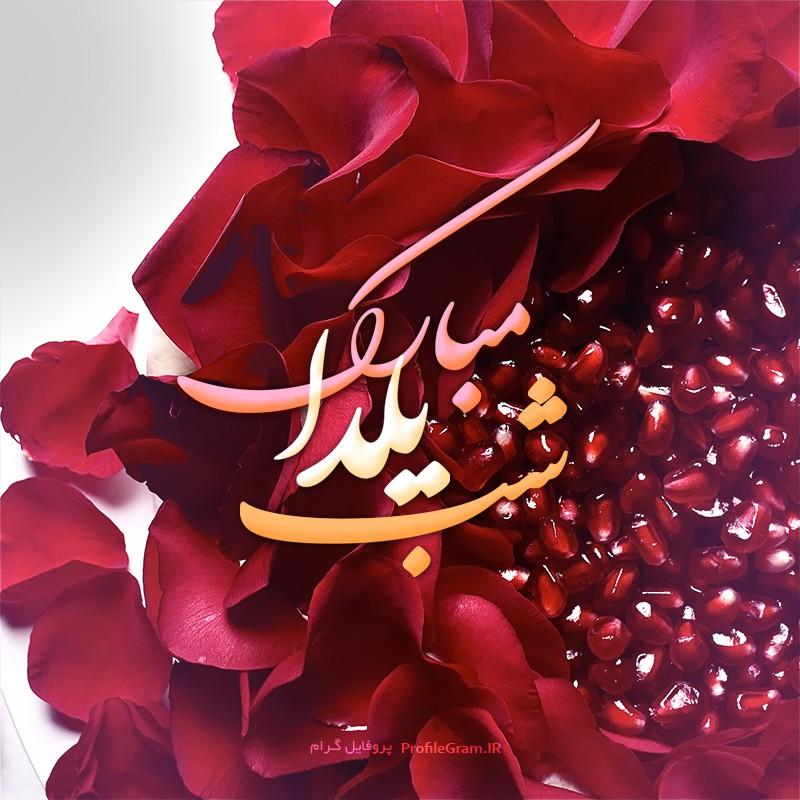 عکس پروفایل برای شب یلدا با طرح انار و گل سرخ