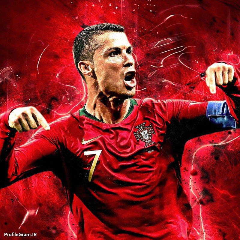 عکس پروفایل رونالدو با لباس قرمز تیم ملی پرتغال