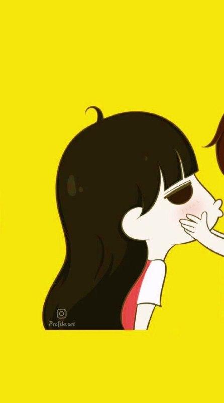 عکس پروفایل ست کارتونی عاشقانه زرد قرمز برای دختر