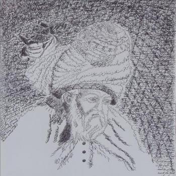 عکس پروفایل نقاشی خط مولانا سیاه و سفید
