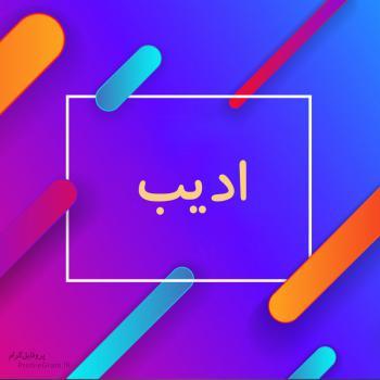 عکس پروفایل اسم ادیب طرح رنگارنگ