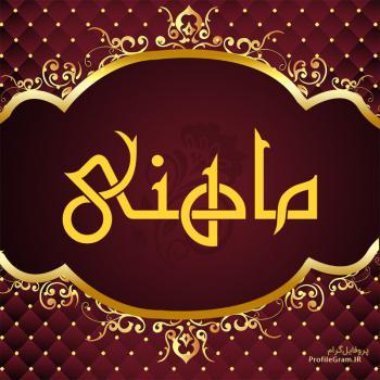 عکس پروفایل اسم ماهنی طرح قرمز طلایی