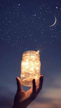 عکس استوری شب پرستاره با جعبه نورانی