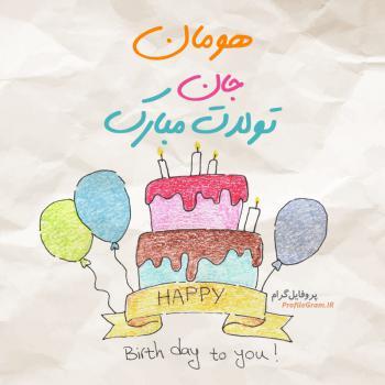 عکس پروفایل تبریک تولد هومان طرح کیک