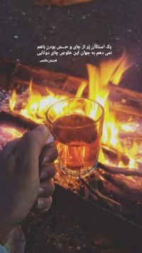 عکس استوری یک استکان پر از چای و حس بودن باهم