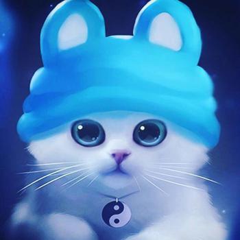 عکس پروفایل گربه ملوس دخترونه با کلاه آبی