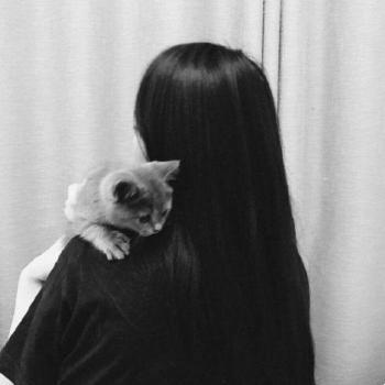 عکس پروفایل ست سیاه سفید دختر با گربه