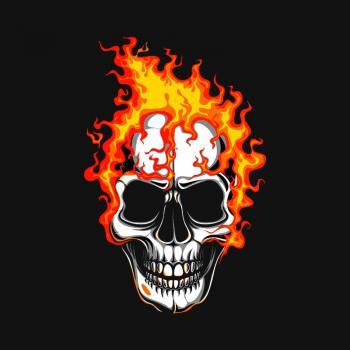 عکس پروفایل اسکلت آتشین جمجمه
