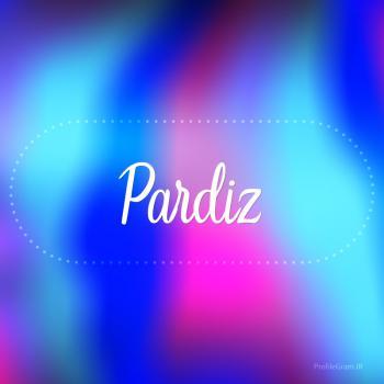 عکس پروفایل اسم پردیز به انگلیسی شکسته آبی بنفش