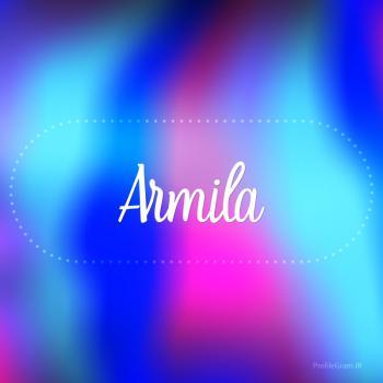 عکس پروفایل اسم آرمیلا به انگلیسی شکسته آبی بنفش