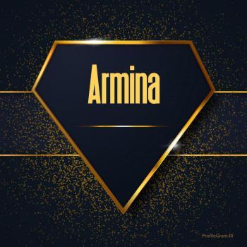 عکس پروفایل اسم انگلیسی آرمینا طلایی Armina