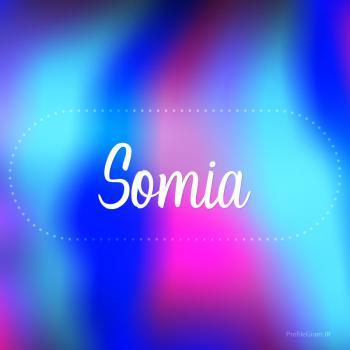 عکس پروفایل اسم سومیا به انگلیسی شکسته آبی بنفش
