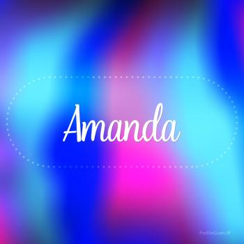 عکس پروفایل اسم آماندا به انگلیسی شکسته آبی بنفش