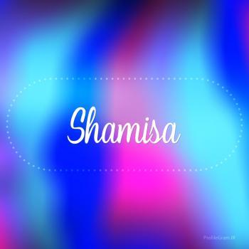 عکس پروفایل اسم شمیسا به انگلیسی شکسته آبی بنفش
