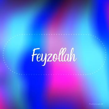 عکس پروفایل اسم فیض الله به انگلیسی شکسته آبی بنفش