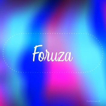 عکس پروفایل اسم فروزا به انگلیسی شکسته آبی بنفش