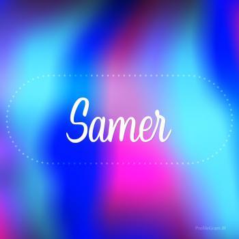 عکس پروفایل اسم ثامر به انگلیسی شکسته آبی بنفش
