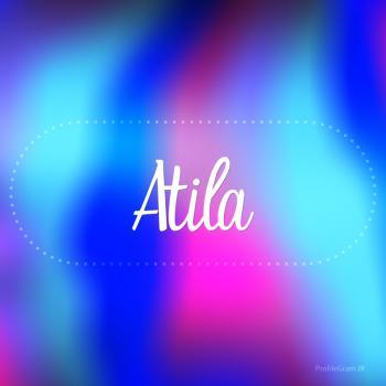 عکس پروفایل اسم آتیلا به انگلیسی شکسته آبی بنفش