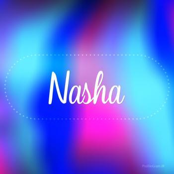 عکس پروفایل اسم ناشا به انگلیسی شکسته آبی بنفش