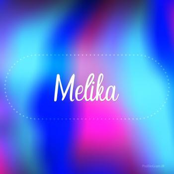 عکس پروفایل اسم ملیکا به انگلیسی شکسته آبی بنفش