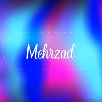 عکس پروفایل اسم مهرزاد به انگلیسی شکسته آبی بنفش