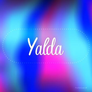 عکس پروفایل اسم یلدا به انگلیسی شکسته آبی بنفش
