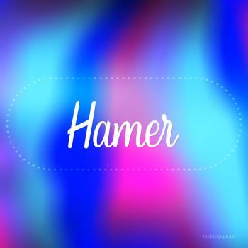 عکس پروفایل اسم هامر به انگلیسی شکسته آبی بنفش