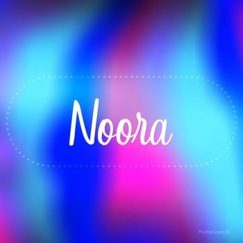 عکس پروفایل اسم نورا به انگلیسی شکسته آبی بنفش