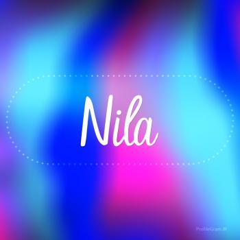 عکس پروفایل اسم نیلا به انگلیسی شکسته آبی بنفش