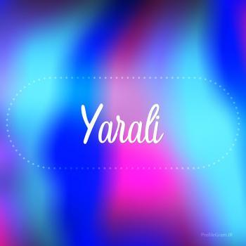 عکس پروفایل اسم یارعلی به انگلیسی شکسته آبی بنفش