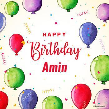 عکس پروفایل تبریک تولد اسم آمین به انگلیسی Amin