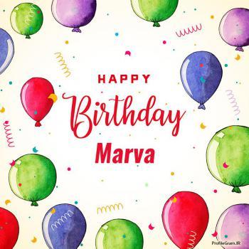عکس پروفایل تبریک تولد اسم مروا به انگلیسی Marva