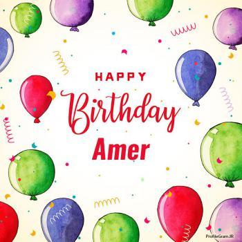 عکس پروفایل تبریک تولد اسم عامر به انگلیسی Amer