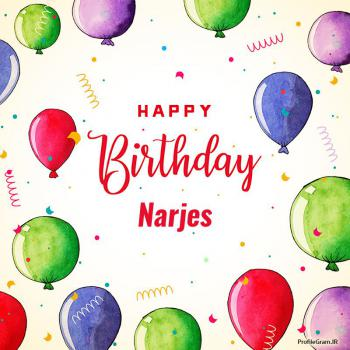 عکس پروفایل تبریک تولد اسم نرجس به انگلیسی Narjes