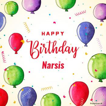عکس پروفایل تبریک تولد اسم نارسیس به انگلیسی Narsis