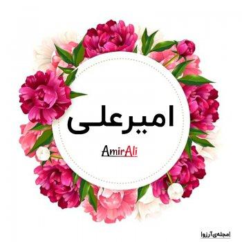 عکس پروفایل اسم امیرعلی با گل های بنفش