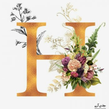 عکس پروفایل حرف انگلیسی H طلایی و گلدار