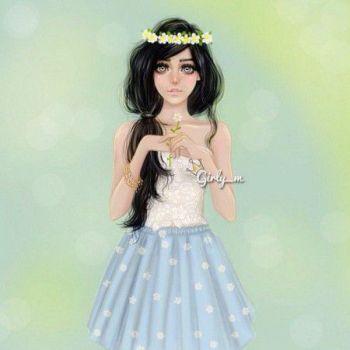 عکس پروفایل دختر با سربند گل کارتونی