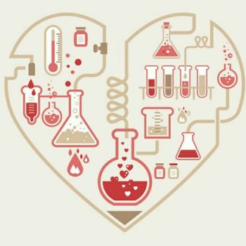 عکس پروفایل طرح قلب با لوازم آزمایشگاهی