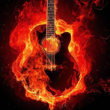 عکس پروفایل گیتار الکتریک آتشین خفن