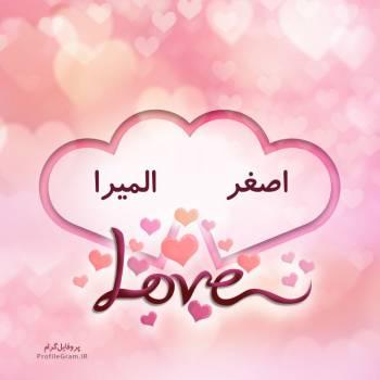 عکس پروفایل اسم دونفره اصغر و المیرا طرح قلب