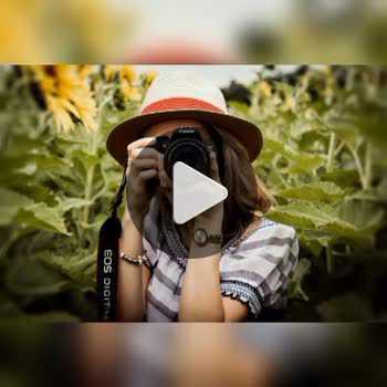 فیلم پروفایل دختر عکاس با فلاش دوربین و کلاه